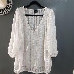Lane Bryant Flowy White Front Tie Blouse Size22/24